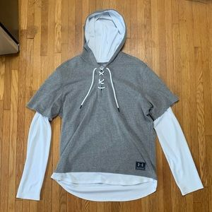 Mens Large Layered Under Armour Boxing Hoodie Gray